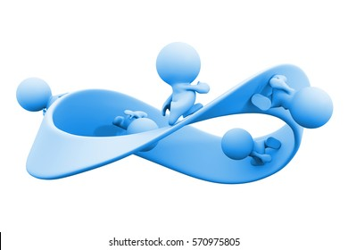 blue 3d characters running along a mobius strip (blue 3d illustration isolated on white background)