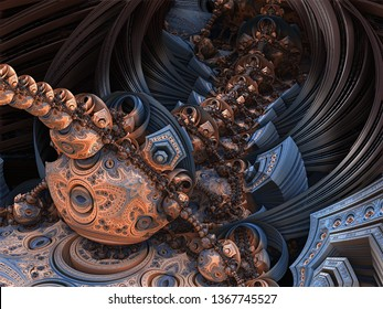 Blue 3d fractal landscape - layered patterns on each side of the image, recursive array of curves lined up with different iterative complex geometric patterns. Blue and Orange color scheme