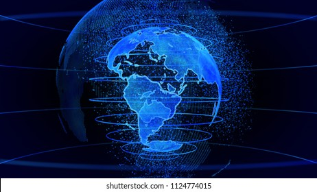 Blue 3D rendering of earth technology, business and communications background. Earth globe rotation with plexus particles around. TV news