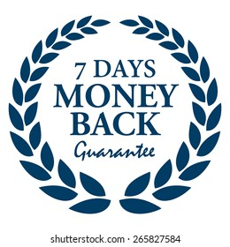 Blue 7 Days Money Back Guarantee Wheat Laurel Wreath, Badge, Label, Sticker, Sign or Icon Isolated on White Background
