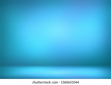 Blue abstract 3d background. Winter studio illustration. Frosty wall and floor blurred texture. Icy room interior. Shade vignette.