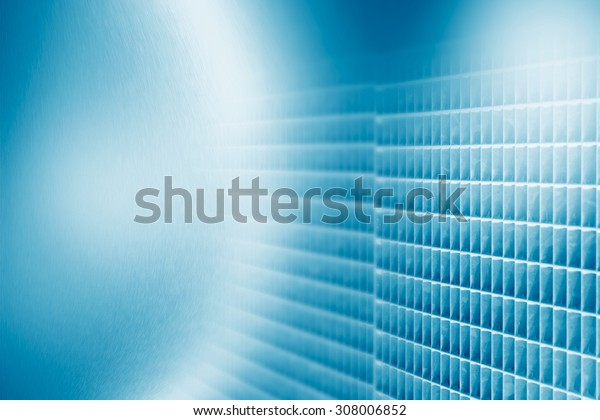 blue abstract background metal grid pattern as decorative element and copy space