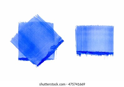 Blue abstract backgrounds, straight grunge sponge mark, crossed squares, light blue transparent watercolor