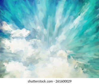 Blue abstract dramatic artistic colorful vintage oil painting background