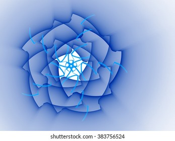 blue abstract fractal background with crossed lines and light effect