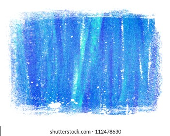 Blue abstract hand painted background texture with grungy weathered border
