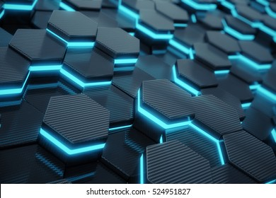 Blue abstract hexagonal glowing background, futuristic concept. 3d rendering