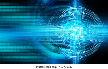 Blue abstract hi speed internet technology background illustration. eye scan virus computer. motion move.