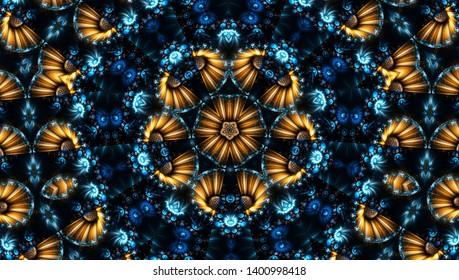 Blue abstract kaleidoscope background. Beautiful multicolor kaleidoscope texture. Unique mandala design