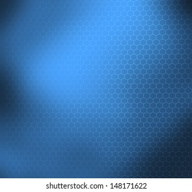 Blue abstract scientific background with graphene molecular structure