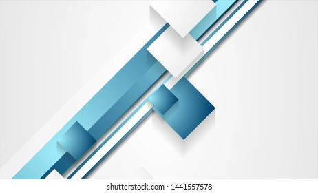 Blue abstract stripes and squares geometry background
