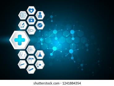 blue abstract symbol medical concept  hexagon white icon