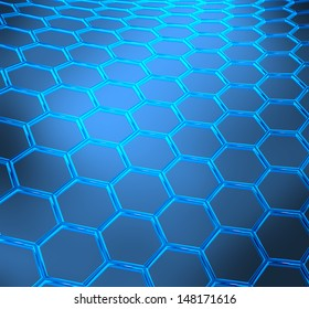 Blue abstract technical or scientific  shiny background with graphene molecular structure