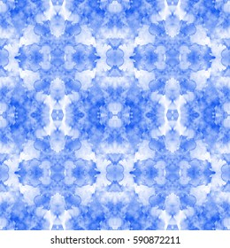 Blue abstract watercolor mirror pattern.