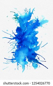 Blue abstract watercolor painting on white textured paper