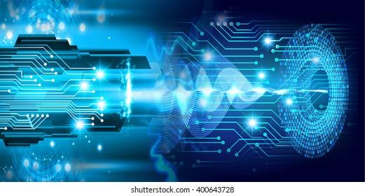 Blue abstract wave hi speed internet technology background illustration. bolt, thunderbolt, Spark