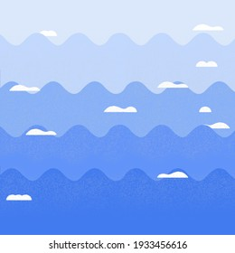 Blue abstract wavy sky background with flat design.