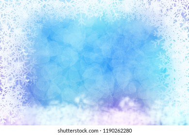 Blue abstract winter background with snowflake frame.