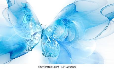 Blauer Schmetterling auf weißem Hintergrund