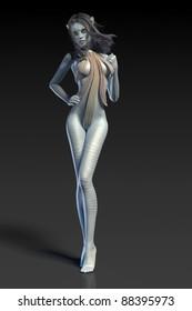 blue alien humanoid isolated on black