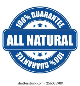 blue all natural 100% guarantee icon, tag, label, badge, sign, sticker isolated on white