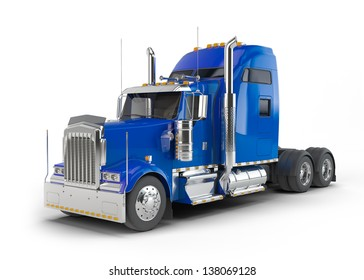 Blue american truck isolated on white background