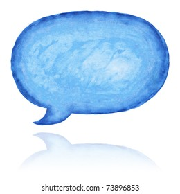 Blue aquarelle empty speech bubble dialog shape with color reflection on white background