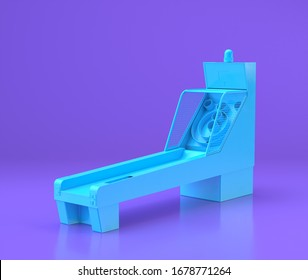 Blue arcade skee ball platform, entertainment center objects in purple flat room, 3d rendering, gaming saloon