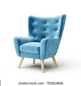 blue armchair isolated on a white. 3d illustration