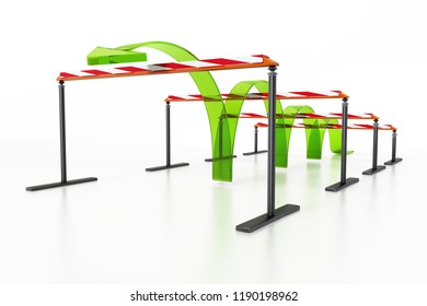 Blue arrow jumping over the obstacles. 3D illustration.