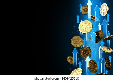 Blue arrows pointing up as Bitcoin (BTC) price rises. Isolated on black background, copy space. Cryptocurrency prices grow concept. 3D rendering