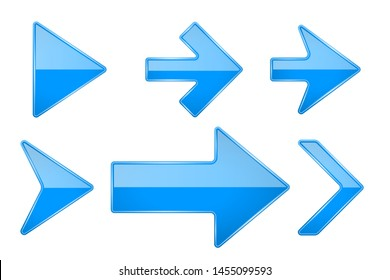 Blue arrows. Shiny 3d glass icons. illustration isolated on white background. Raster version