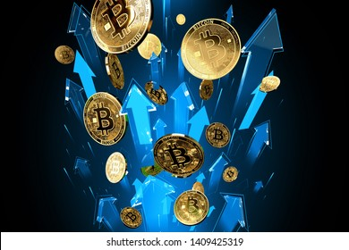 Blue arrows shots up with high velocity as Bitcoin (BTC) price rises. Cryptocurrency prices grow, high risk - high profits concept. 3D rendering