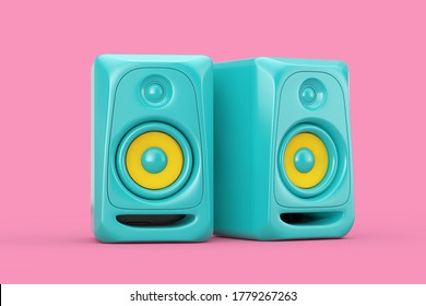 Blue Audio Studio Acoustic Speakers in Duotone Style on a pink background. 3d Rendering