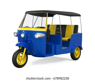 Blue Auto Rickshaw Isolated. 3D rendering