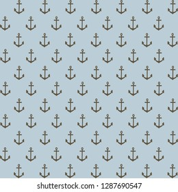 Blue baby boy nautical anchor pattern. Blue nautical background. Coastal digital scrapbook paper. Design element for birthday invitations, cards, stickers, scrapbook pages, thank you notes