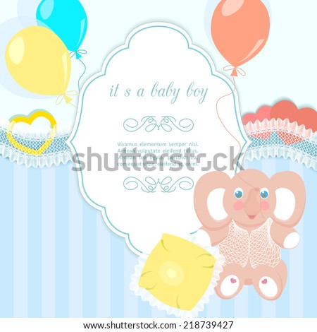 Blue Baby Frame Elephant Small Pillow Stock Illustration 218739427 ...