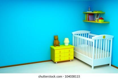 Blue baby's bedroom. Bright colors, empty room