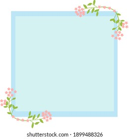 Blue background decorating by flowers at the corner for birthday card , wedding card , background and texture concept