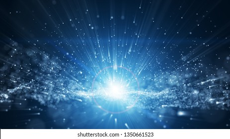 blue background, digital signature with wave particles, sparkle, veil and space with depth of field. The particles are white light lines.