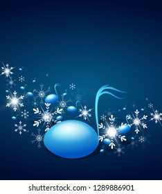 Blue background with music notes decorated with snowflakes