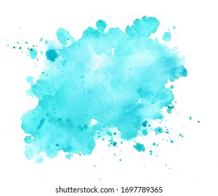 Blue background painted by watercolor