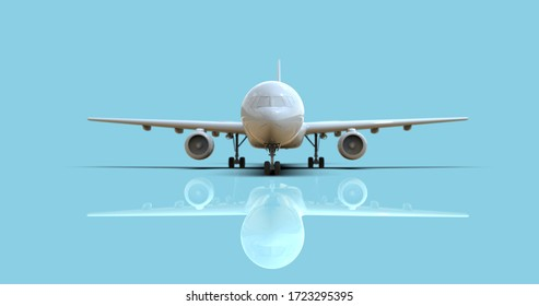 BlankMockup Aircrafton a Blue Background, White Clear FuselageGlossy Commercial Jet Airplane,Take Off,AirlineTravel Passenger Plane,Aviation Wings and Landing Airplane3d illustration