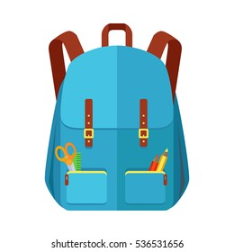 Blue backpack schoolbag icon in flat style