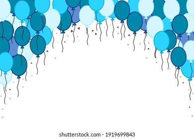 Blue balloon and confetti isolated on white background, space for text. Celebration Anniversary Festival pattern background.