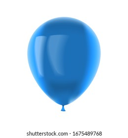 Blue balloon isolated on a white background. 3d rendering