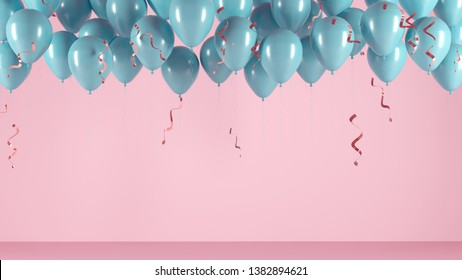 Blue balloons with confetti, ribbons on a pink light background. Festive illustration, greeting card, poster, congratulations on birthday, anniversary. Minimalistic creative picture - 3D, render.