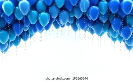 Blue balloons for holidays background
