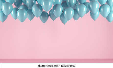 Blue balloons on a pink light background of the room, studio. Festive illustration, greeting card, poster, congratulations on birthday, anniversary. Minimalistic creative picture - 3D, render.