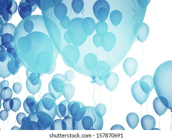 Blue balloons on white background